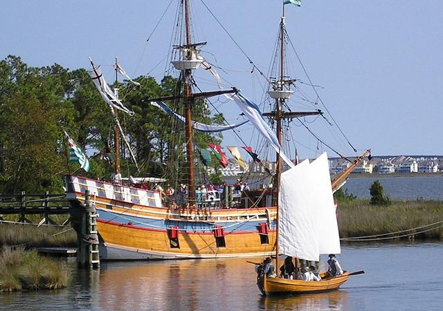 sailing ship in Roanoke Island NC
