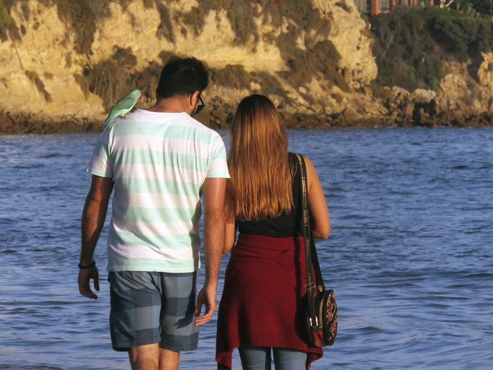 Couple Walk Walking Woman Man Beach Together 2817335